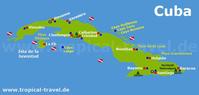 Karte Kuba Varadero.Kuba Die Größte Insel Der Karibik Karibik Online Reiseführer