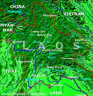 Laos Nord Karte