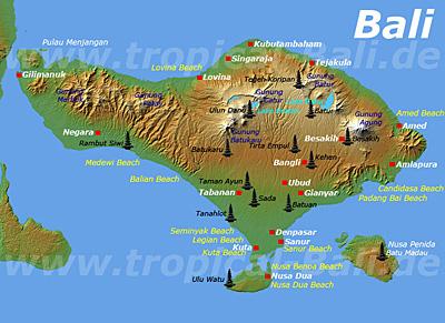 Bali Tempel Karte