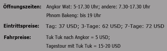 Angkor Eintrittspreise
