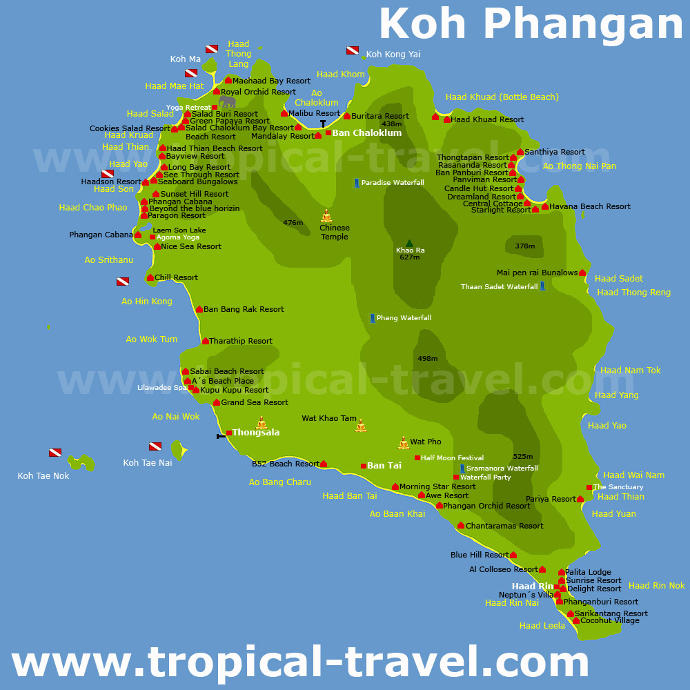 Koh Phangan Pha Ngan Thailand getting there hotel booking