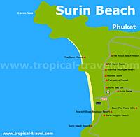 Surin Beach Karte