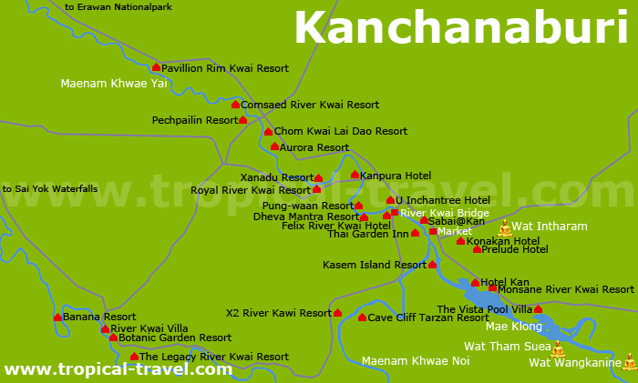Kanchanaburi Karte