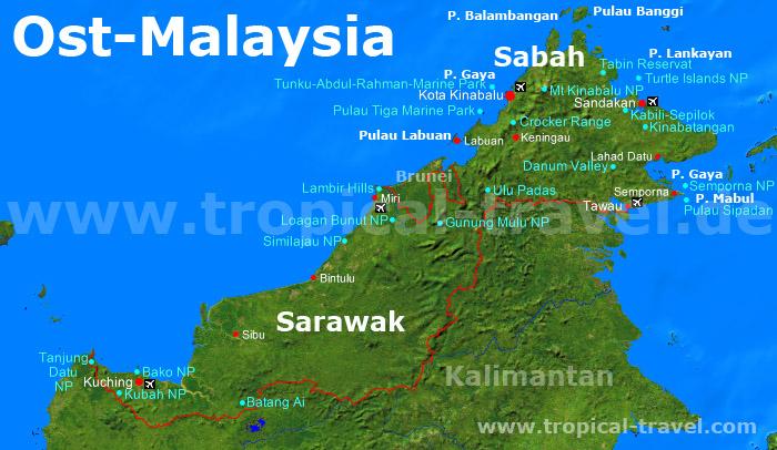 Ost-Malaysiakarte
