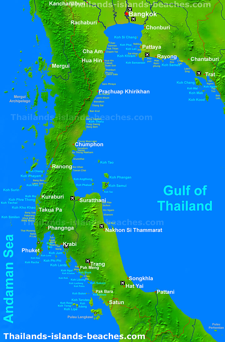 Map Of Thailand South Islands Southern Thailand map | all islands and beaches | online travel guide