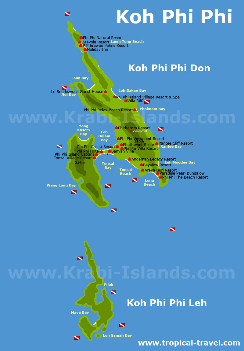 Koh Phi Phi Thailand getting there hotel booking