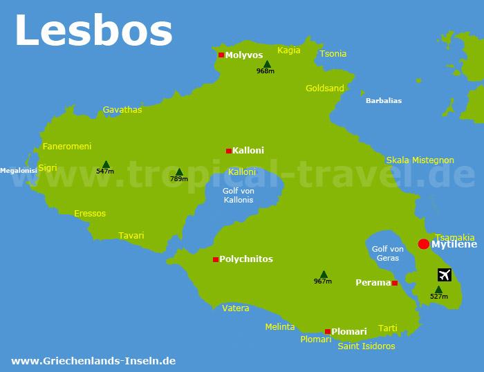 Lesbos Karte