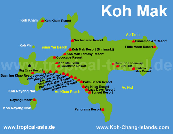 Thailands islands island and hotel maps