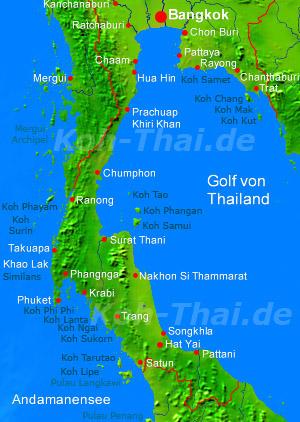 Thailand Inseln Karte.Südthailand Karte Reiseinformationen Thailand