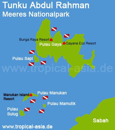 Tunku Abdul Rahman Park Karte